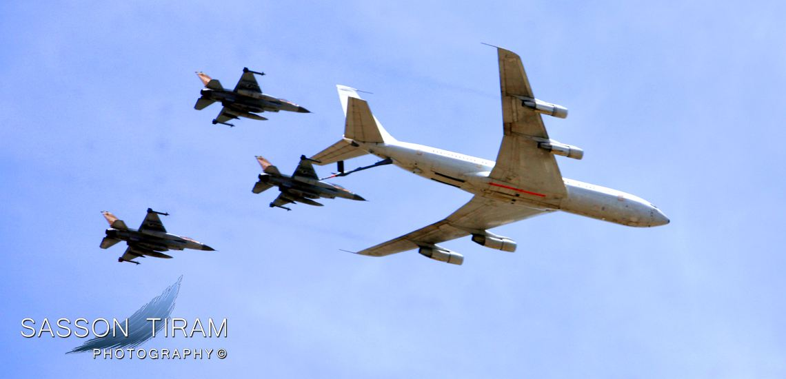 Fighter aircraft of the Israeli Force air refueling from jet air refueling tanker