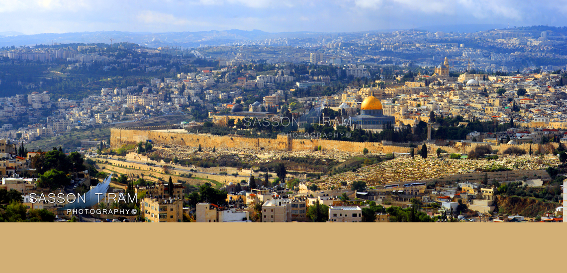view to the old city of Jerusalem and the Temple Mount and the New Jerusalem